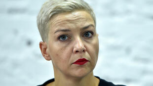Maria Kolesnikova, durante una rueda de prensa en el decimosexto día de protestas por los resultados de las últimas elecciones presidenciales bielorrusas, el 24 de agosto de 2020 en Minsk