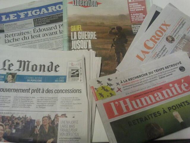 Primeiras páginas dos jornais franceses 28 de novembro de 2019