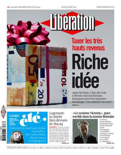 """Manchete do jornal francês Libération: """"Uma Rica Idéia, o aumento dos impostos sobre os milionários"""""""