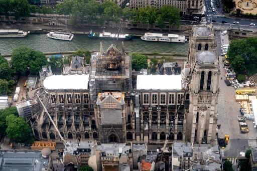 Nhà thờ Đức Bà Paris nhìn từ trên cao, sau vụ hỏa hoạn ngày 15/04/2019.