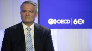 Mathias Cormann, secretario general de la Organización parala Cooperación y el Desarrollo Económicos, el 1º de junio de 2021 en la sede de la OCDE