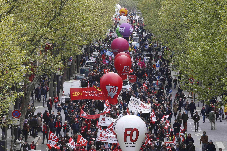 A demonstration against the labour reform in Paris on 28 April