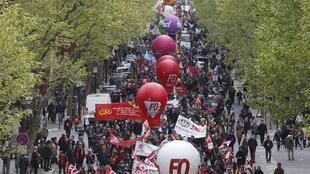 A demonstration against the labour reform in Paris on 28 April