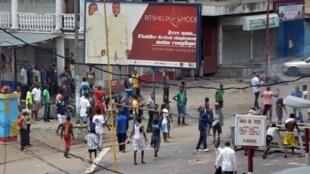 Maandamano dhidi ya kupitishwa sheria mpya ya uchaguzi, katika mji wa Kinshasa, Jamhuri ya Kidemokrasia ya Congo, Januari 19 mwaka 2015.