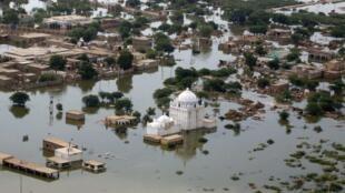 District de Jafarabad inondé, dans la province pakistanaise du Balouchistan, le 17 août 2010.
