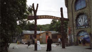 Entrée du quartier de Christiana en 2003.