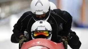 Equipe brasileira de bobsled treina no centro de Rosa Khutor, nesta quinta-feira, 6 de fevereiro.