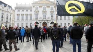 Rassemblement d'identitaires à l'extérieur du ministère de la Justice à Vienne, le 13 avril 2019.