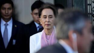 為緬甸政府辯護的昂山素季前往聯合國國際法院