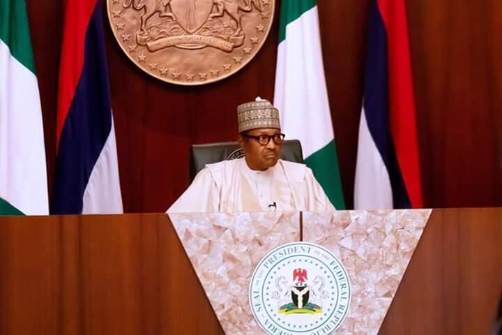 Shugaban Najeriya Muhammadu Buhari yayin jawabi ga 'yan kasa kan ranar Dimokradiya