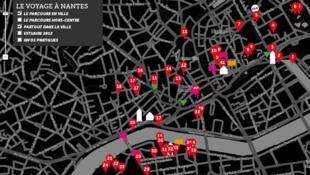 Le parcours de l'exposition à ciel ouvert « Le voyage de Nantes ».