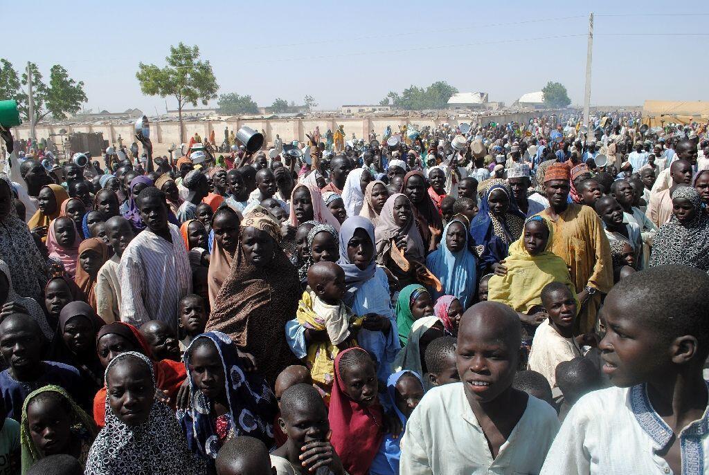 Wasu daga cikin 'yan gudun hijirar da ke samun mafaka a sansanin birnin Maiduguri na jihar Borno