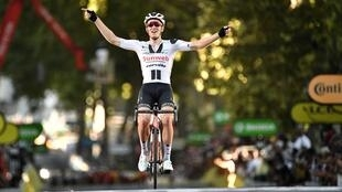 Sunweb rider Denmark's Soren Kragh Andersen solos to stage 14 victory, 12 September 2020.