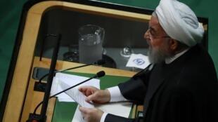 Le président iranien Hassan Rohani lors de son allocution à la tribune des Nations unie le 25 septembre 2019.