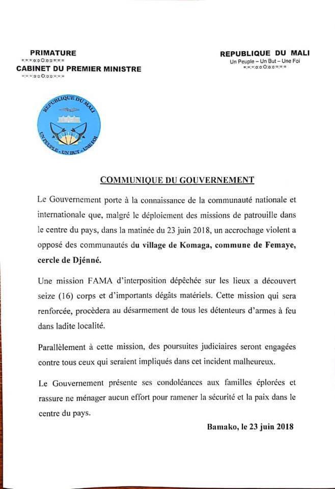 Communiqué du gouvernement du Mali sur l'attaque de Koumaga le 23 juin 2018.