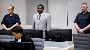 L'ex-chef de milice centrafricain, Patrice-Edouard Ngaïssona, devant la CPI, à La Haye, en janvier 2019.