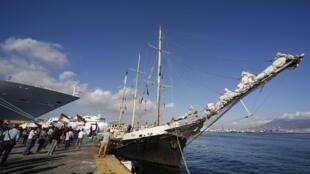 The activist ship Estelle at Naple's harbour, 6 October 2012