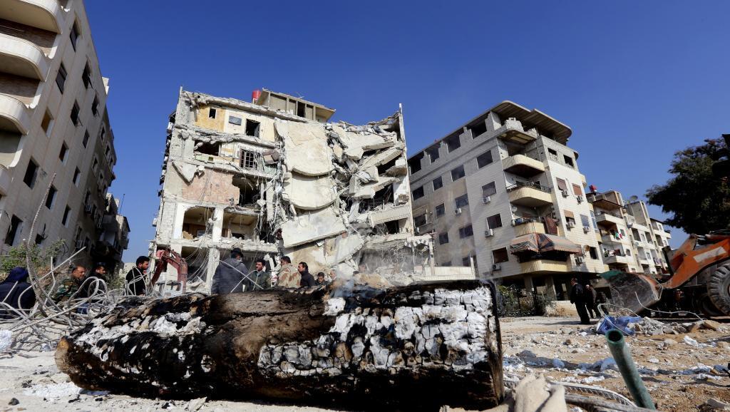 Jengo lililolengwa na mashambulizi ya anga ya Israel ambapo Samir Kantar, kiongozi muhimu wa kundi la Hezbollah, aliuawa karibu na mji wa Damascus.
