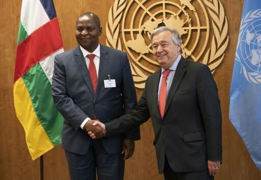 United Nations Secretary General Antonio Guterres (R) greets Faustin Archange Touadera, President, Central African Republic at the United Nations in New York on September 23, 2018