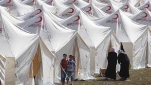 L'un des camps de réfugiés du Croissant-Rouge turc à la frontière avec la Syrie.