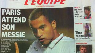 Lucas na capa do L'Équipe desta sexta-feira