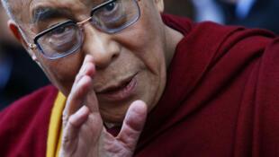 The Dalai Lama outside his hotel in Washington on 18 February