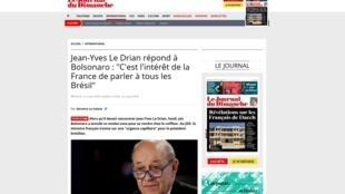 """Ministro das Relações Exteriores francês Jean-Yves le Drian dá entrevista ao Journal du Dimanche de 4 de agosto de 2019 em que fala pela primeira vez sobre a """"desfeita"""" de Bolsonaro."""