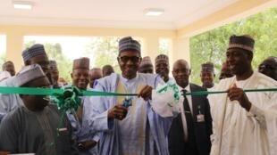 Muhammadu Buhari commissions a boarding school in Maiduguri on Thursday 18th April.