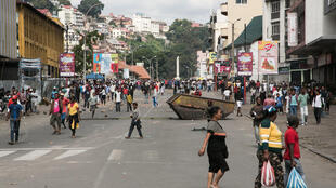 (Photo d'illustration) Manifestation d'opposition aux nouvelles lois électorales, ici le 22 avril 2018 dans une rue d'Antananarivo.