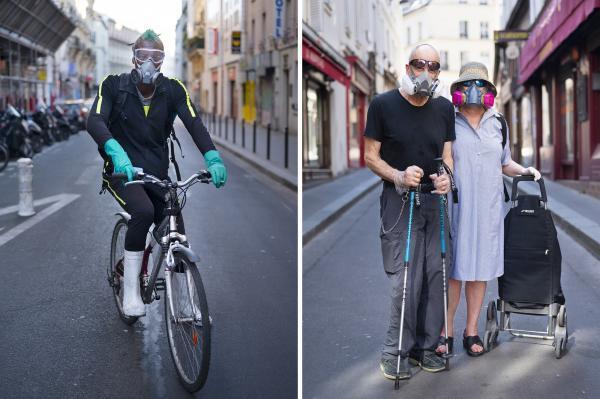 Système D (Rue Eugène Varlin / Rue de l'Arbalète). En attendant les masques, on fait avec ce qu'on a.