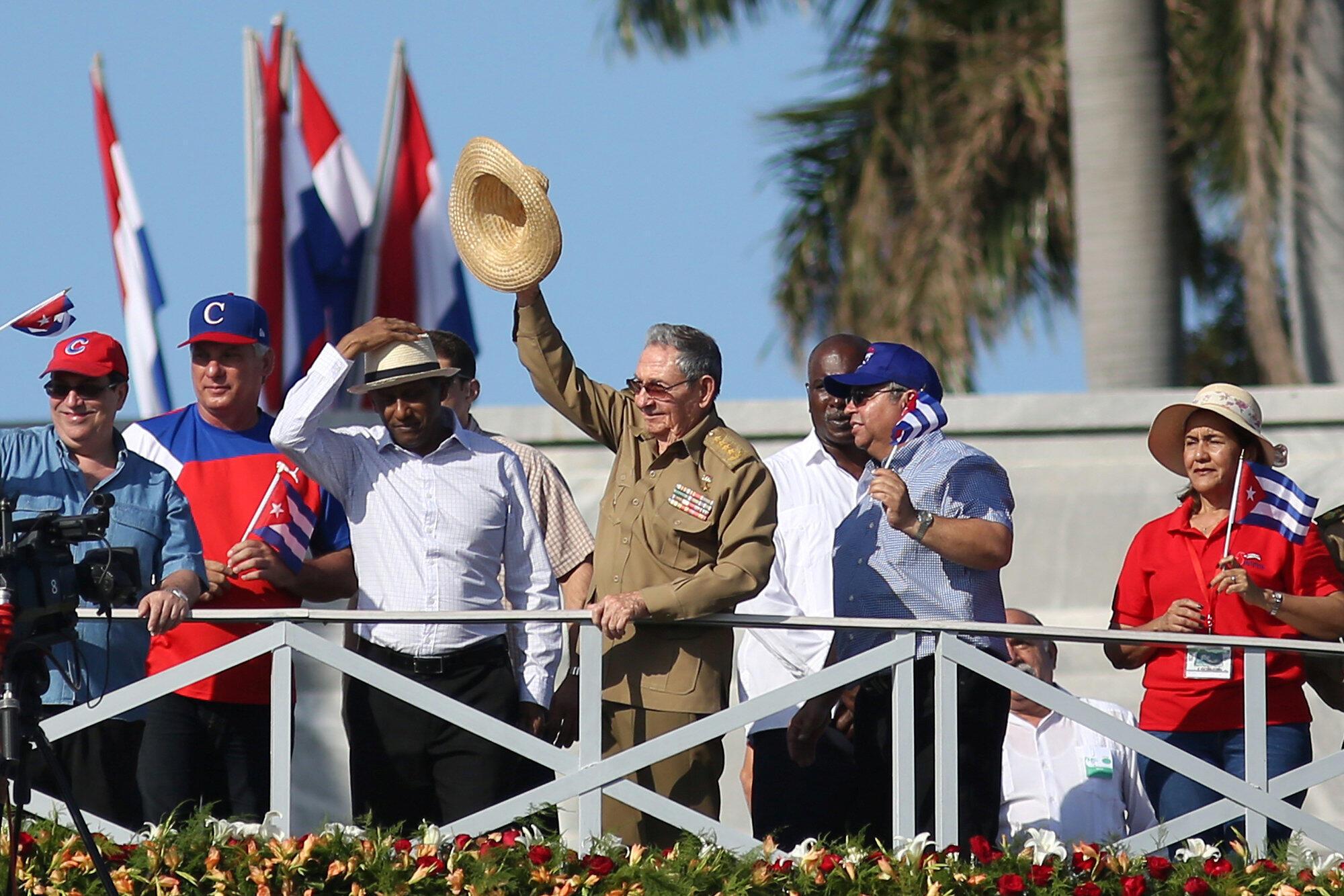 El presidente cubano Raúl Castro durante la celebración del 1° de mayo, en La Habana.