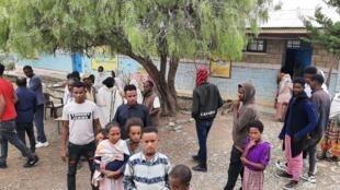 Centre de déplacés situé dans l'école primaire Mayweli, à Mekele, la capitale de la région éthiopienne du Tigré. A ouvert car le camp de l'école secondaire était saturé. Mai 2021.