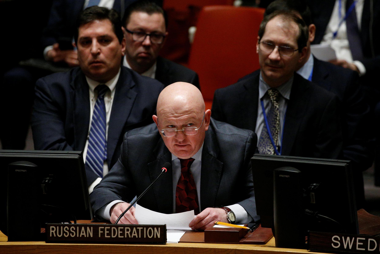 O embaixador russo no Conselho de Segurança da ONU, Vassily Nebenzia, durante reunião sobre a Síria em 22 de fevereiro.