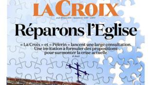 Couverture du numéro de La Croix «Réparons l'Église», daté du 28 mars 2019.