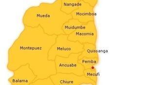 Mapa da Província moçambicana de Cabo Delgado, no extremo Norte do país.