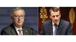 Jean-Claude Juncker et Emmanuel Macron.