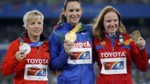 A brasileira Fabiana Murer ganhou a medalha de ouro no salto com vara em Daegu, na Coreia do Sul.