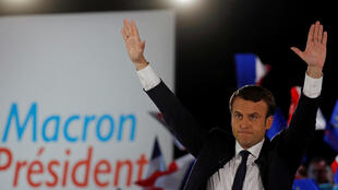 Emmanuel Macron, head of the political movement En Marche !, or Onwards !, and candidate for the 2017 presidential election, attends a campaign rally in Paris, France, May 1, 2017.
