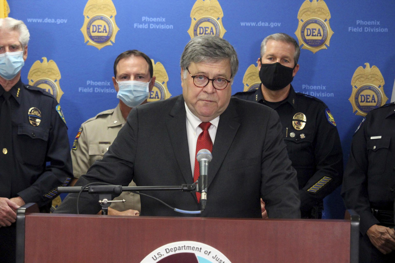 Le ministre américain de la Justice, William Barr, lors d'une conférence de presse le 10 septembre 2020.