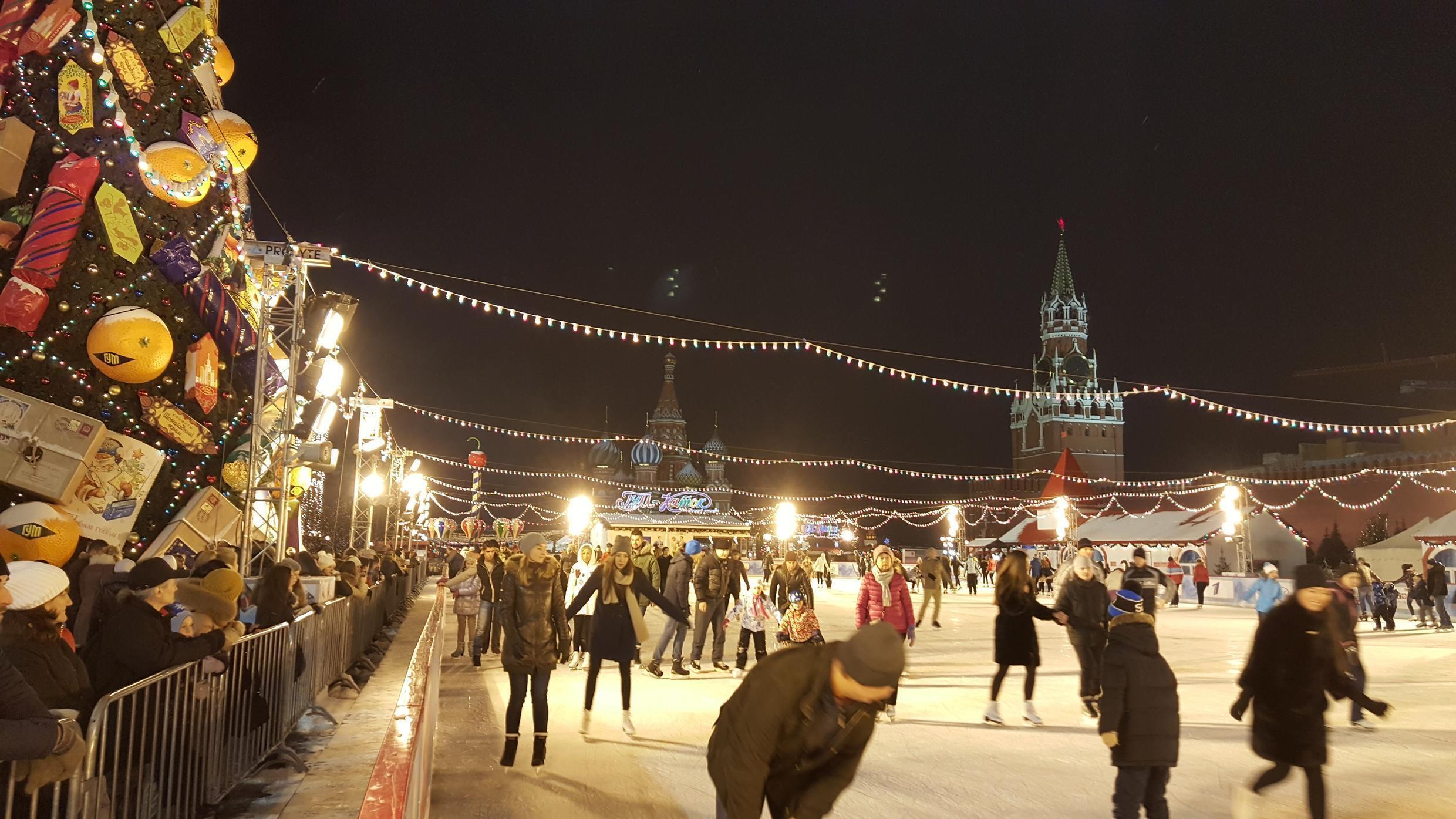 Red Square skating in Kremlin, Moscow.