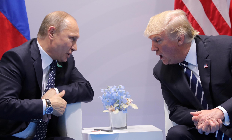 O presidente americano, Donald Trump, e o russo, Vladimir Putin, durante o G20.