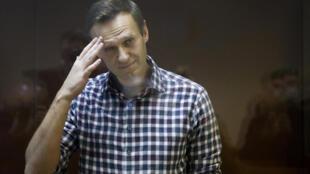 L'opposant russe Alexeï Navalny lors de son procès à Mosocu le 20 février 2021.