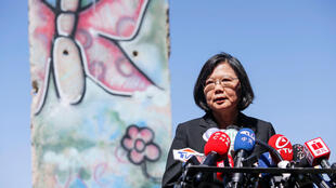 Taiwanese President Tsai Ing-wen standing by a section of the Berlin Wall speaks to media at the Ronald Reagan Presidential Library in Simi Valley, California, U.S., August 13, 2018.