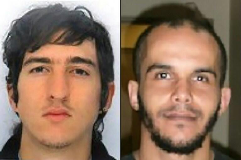 This combination of two handout pictures released by the French Police on April 18, 2017 and created on April 18, 2017 shows Clement Baur (L) and Mahiedine Merabet (R) arrested in Marseille on April 18, 2017, on suspicion of preparing an attack.