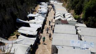 Camp de réfugiés et de migrants de l'île de Chios en Grèce, le 7 septembre 2016.
