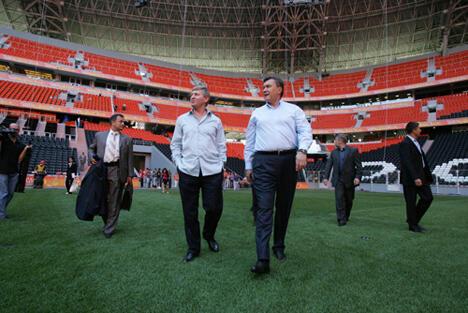 Ринат Ахметов и Виктор Янукович на стадионе Донбасс-Арена 25/08/2012