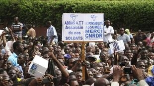Malians who back the military coup d'etat, demonstrate in the capital Bamako,