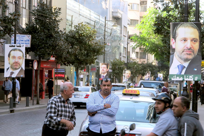 Posters of Hariri in a Beirut street this week