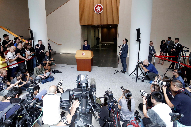 La cheffe de l'exécutif hongkongais, Carrie Lam, lors de sa conférence de presse du 20 août 2019.