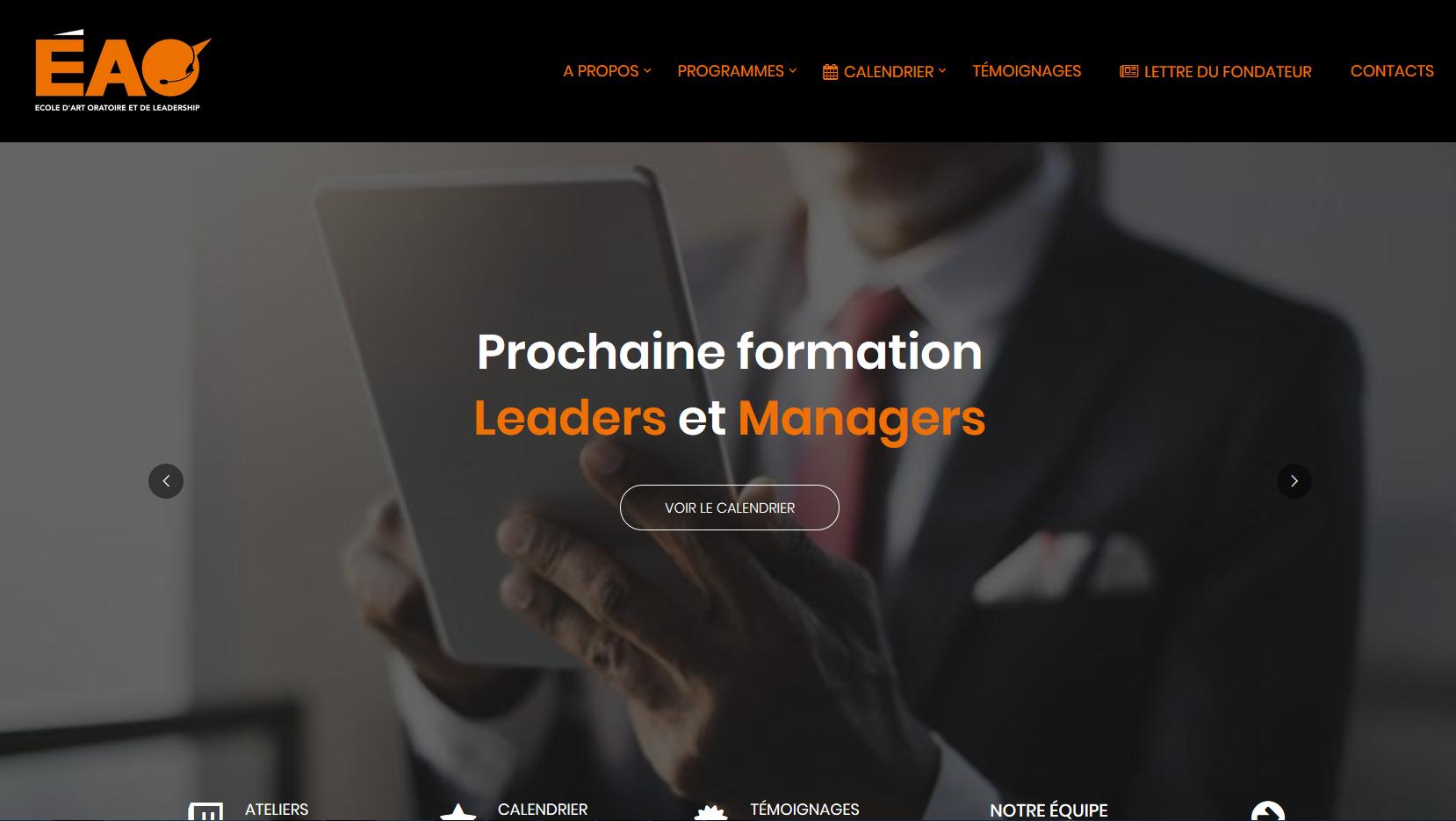 Page d'accueil du site de l'école d'art oratoire et leadership (capture d'écran).